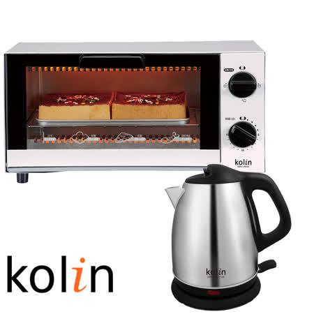 ▼【歌林Kolin】6L雙旋鈕電烤箱KBO-LN066+不鏽鋼快煮壺(1.7L)KPK-MNR1716S