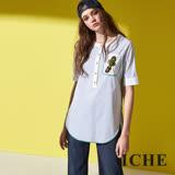 ICHE 衣哲 時尚直紋印花五分袖拼接長版襯衫上衣-藍