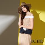 ICHE 衣哲 時尚唯美一字領細肩挺印花拼接撞色造型上衣-米
