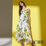 ICHE 衣哲 時尚美感高腰滿版印花無袖長版洋裝-黃