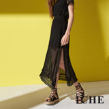 ICHE 衣哲 都會純色高磅棉開衩針織兩件式造型長裙(兩色)-黑