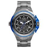 A│X Armani Exchange 動感速度2013全球限量鈦合金腕錶(鋼帶-藍銀)
