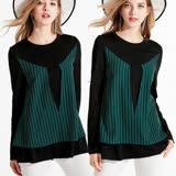 【麗質達人】5040綠色條紋拼接假二件上衣(L-5XL)