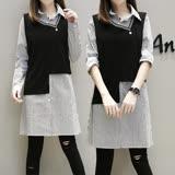 【麗質達人】0386條紋二件式上衣(XL-5XL)