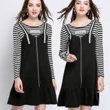 【麗質達人】6091條紋拼接洋裝(L-5XL)