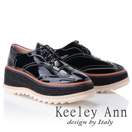 Keeley Ann街頭漫步~厚底編織滾邊綁帶休閒鞋(黑色875542210-Ann系列)