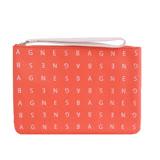 agnes b. LOGO標誌PU手拿包(小橘紅)