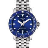 TISSOT 天梭 Seastar 1000 海洋之星300米潛水機械錶-藍x銀/43mm T1204071104100