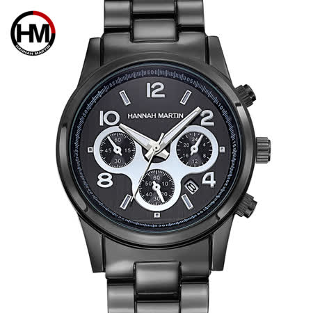 HM HANNAH MARTIN 魅黑三眼裝飾不鏽鋼腕錶(HM-1038-H)
