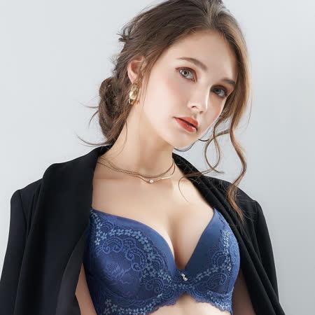 【EASY SHOP】花氛宣言 美背款B-E罩內衣(沉穩藍)