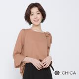 CHICA 秋日午茶氣質蝴蝶結荷葉袖上衣(2色)