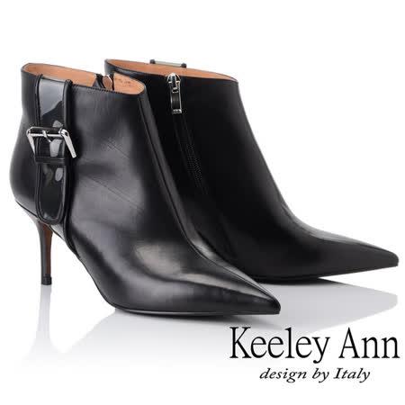 Keeley Ann俐落個性~率性金屬飾釦全真皮短靴(黑色877857210-Ann系列)