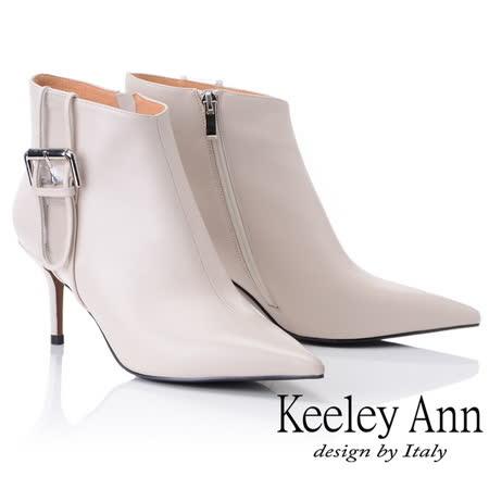 Keeley Ann俐落個性~率性金屬飾釦全真皮短靴(黑色877857230-Ann系列)