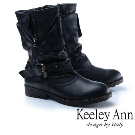 Keeley Ann鉚釘龐克~個性環釦拉鍊層次真皮低跟中筒靴(黑色887138510)