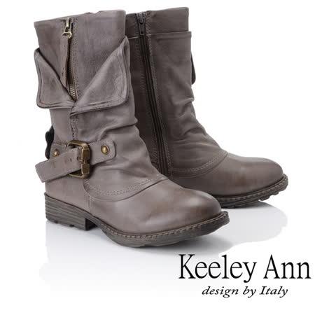 Keeley Ann鉚釘龐克~個性環釦拉鍊層次真皮低跟中筒靴(灰色887138580)