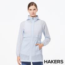 【HAKERS 哈克士】女 抗UV防潑格紋長版外套(天藍)