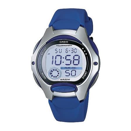 CASIO 電子美人彩色數字運動膠帶錶(深藍)