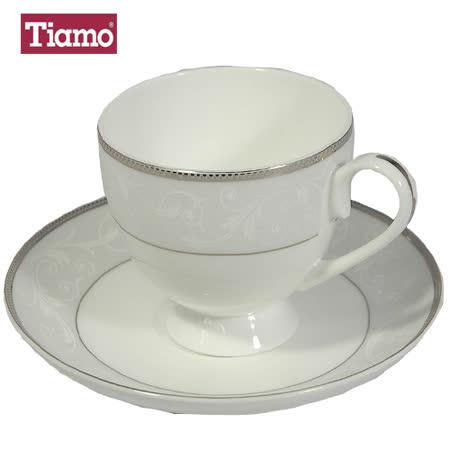 Tiamo骨瓷霧銀白刻圖紋咖啡杯盤組(2組入)-HG3217