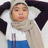 【CoFeel酷咖絨】咖啡混紡兒童帥氣保暖圍巾_咖啡色