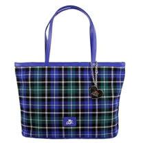 agnes b.簡約格紋小手提包(藍)