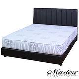 【Maslow-簡約線條黑色皮製】雙人床組-5尺(不含床墊)
