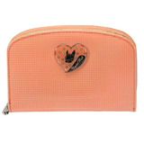 Crystal Ball 俏皮愛心飾鑽弧型拉鍵中夾-粉橘
