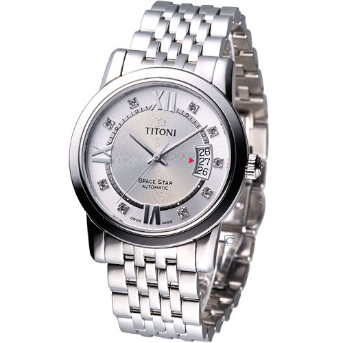 TITONI Spacestar 世紀之星 紳士機械錶_83738S~362 銀白色