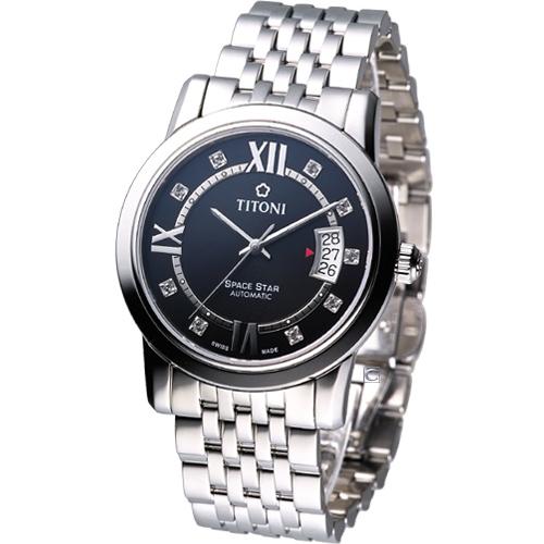 TITONI Spacestar 世紀之星 紳士機械錶_83738S~363 黑色