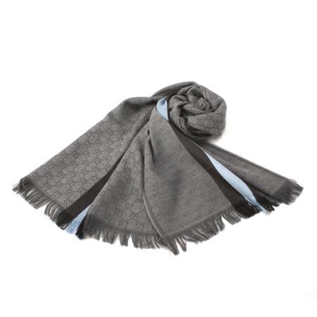 GUCCI 經典緹花水藍色條紋圍巾-灰色