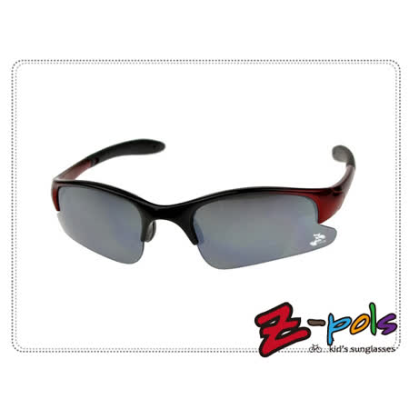 《Z-pols小朋友太阳眼镜运动系列款》顶级PC防爆太空电镀黑镜片+酷炫烤漆黑红框,动感上市!