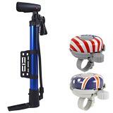 《超值2組入》攜帶型小巧手自行車打氣筒+國旗鈴鐺