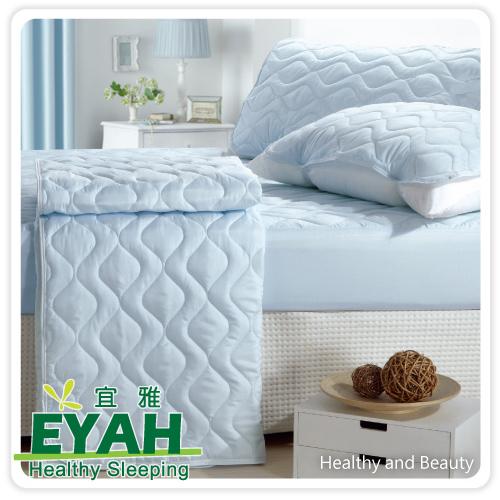 ~EYAH宜雅~純色保潔墊△床包式單人2入組 含枕墊~1 ~迷情藍