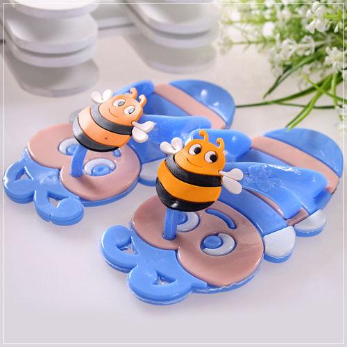 車 魔法Baby~可愛蜜蜂 拖鞋 藍 ~ 童鞋~s5867