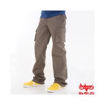 【BOBSON】男款休閒百搭側口袋直筒褲(兵綠)