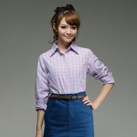 【EverSmile】女款長袖格紋棉襯衫