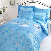 【享夢城堡】哆啦A夢 星光閃閃系列-雙人純棉四件式床包兩用被組