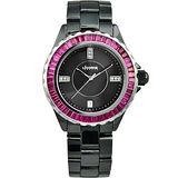 LICORNE 天使情人晶鑽陶瓷腕錶-黑 LI020BBBI-SR