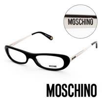 MOSCHINO 義大利設計經典復古金屬造型平光眼鏡(黑) MO02201