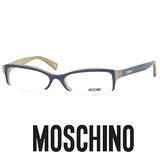 MOSCHINO 時尚光學鏡框★愛心LOGO鉻牌★藍/咖啡 MO03104