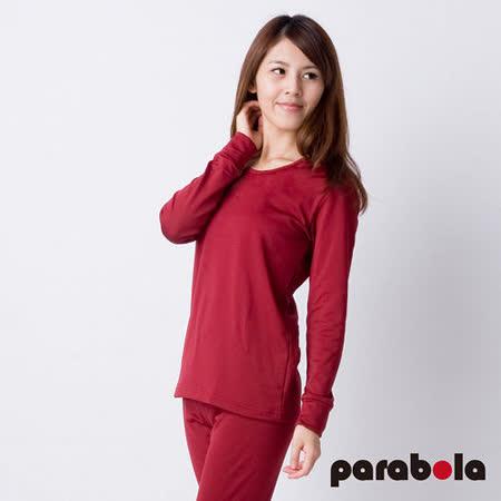 【3M-Parabela】發熱衣-女圓領-紅色