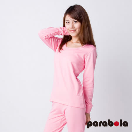 【3M-Parabela】發熱衣-女U領-粉紅色