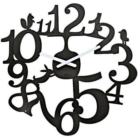《KOZIOL》Pi動物森林壁面時鐘(黑)