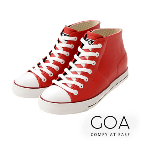 GOA街頭時尚.男款內增高帆布款橡膠雨鞋-紅