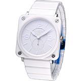 Bell & Ross 精密陶瓷時尚腕錶-(BRS-WH-CE-PHA-SCE)白色
