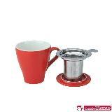 Tiamo 16號陶瓷馬克杯-附杯蓋/濾網組(紅色)350cc (HG0760 R)