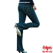 【BOBSON】女款磨力美人爪釘伸縮小喇叭牛仔褲(復古藍55)