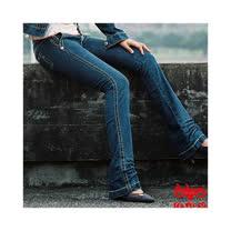 【BOBSON】磨力美人寬腰版型低腰小喇叭牛仔褲(藍53)