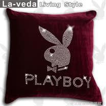 La Veda【PLAYBOY】時尚美鑽方型抱枕-紫色(60x60CM)