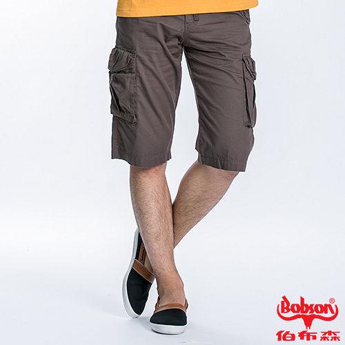 BOBSON 男款貼袋短褲 兵綠190~41