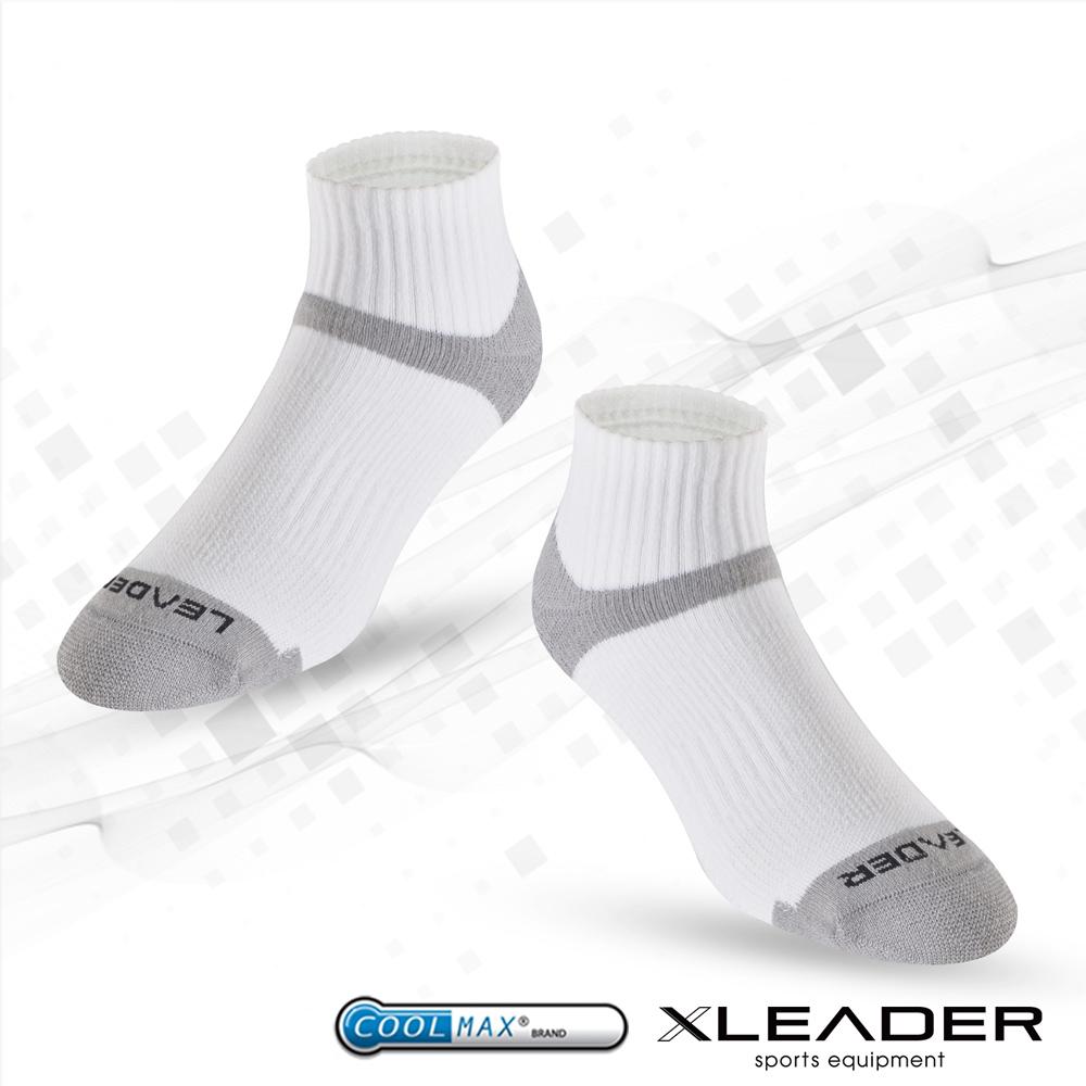 【LEADER】COOLMAX除臭機能 襪 男款 白灰
